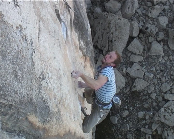 Neil Dyer making the first ascent of Megalopa - 8c+ - LPT, 61 kb