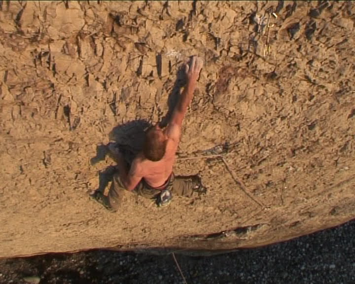 Neil Dyer making the first ascent of The Brute - 8b - The Diamond, 74 kb