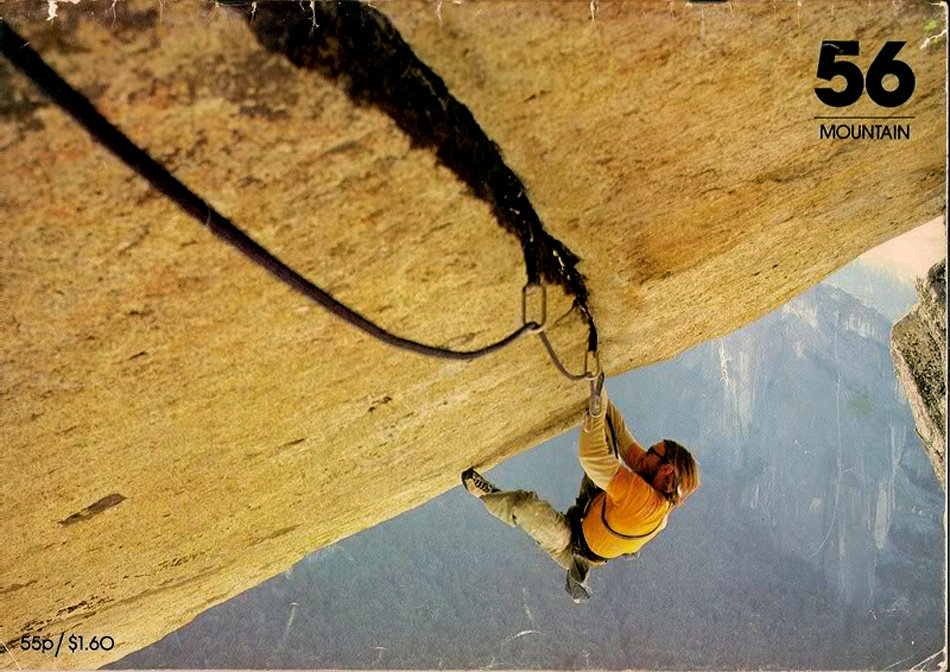 Ray Jardine on Seperate Reality 5.12a (E5 6b), Yosemite. The front cover of Mountain magazine 56, 181 kb