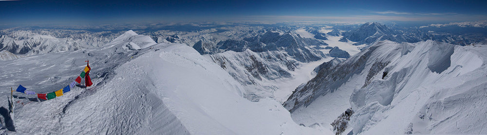 View from the summit of Denali. The West Buttress route comes over on the ridge on the right, 83 kb