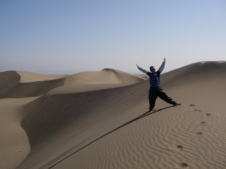 Pauline enjoying the desert, 62 kb
