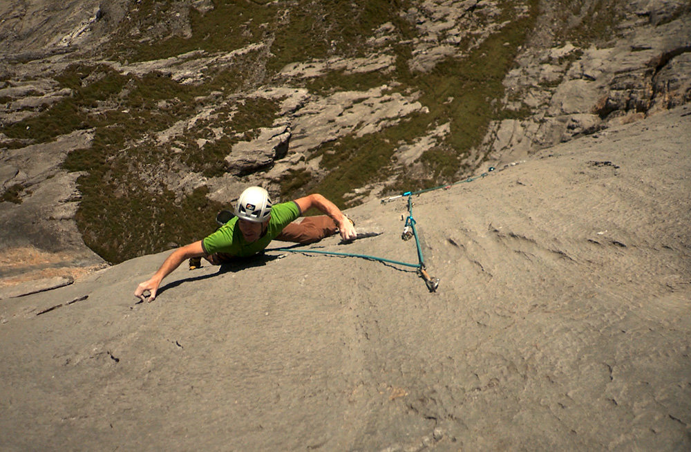 Andy Cave leading the crux pitch of his new route Ecstasy, 197 kb