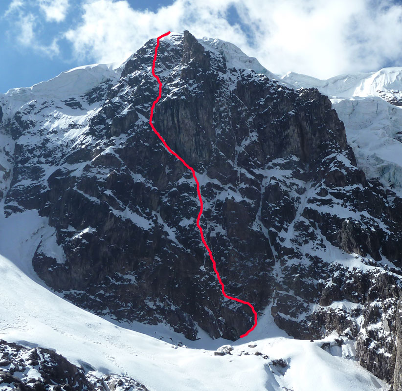 Chichicapac South Face with the team's new line marked in red, 207 kb