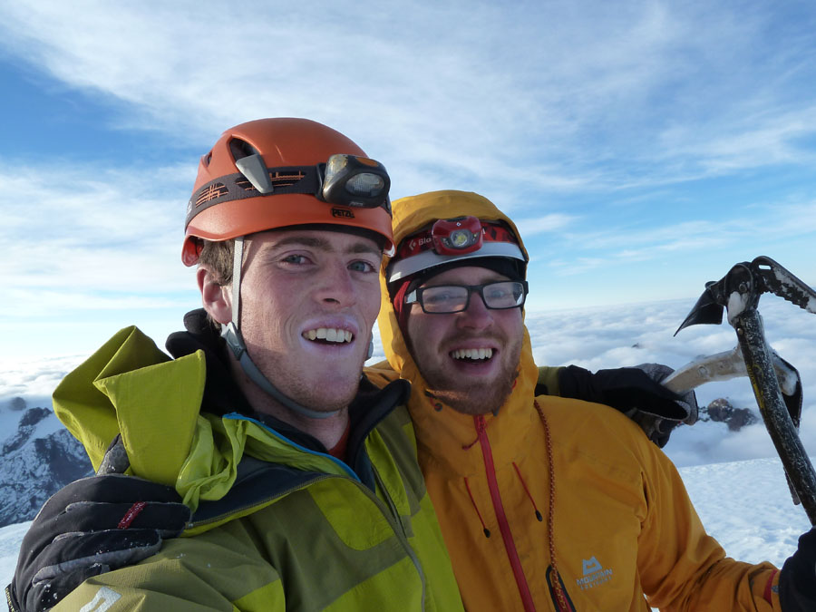 Hamish Dunn (left) and Tom Ripley on the summit of Chichicapac, 119 kb