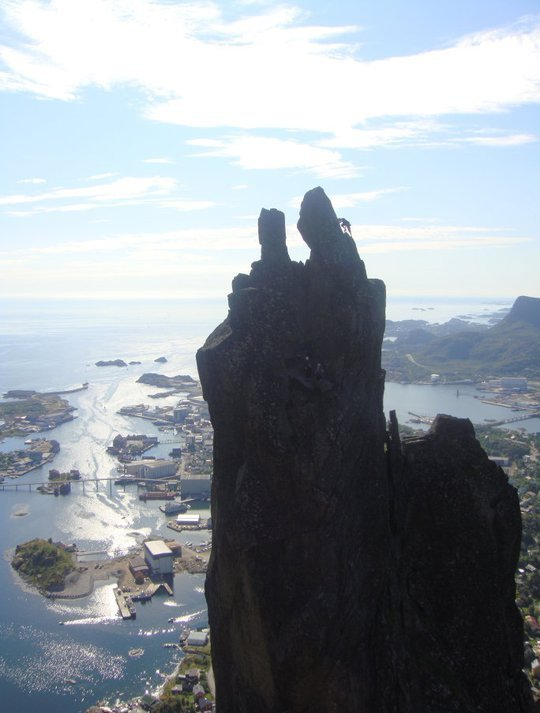 Me nearly at the top of Svolvaergeita VS 4b in Lofoten, Norway. Amazing!, 54 kb