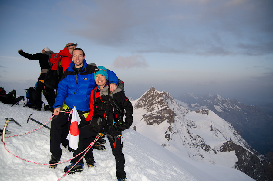 Paul Phillips, UKC Assistant Editor, on the summit of the Mönch (4,107m), 112 kb