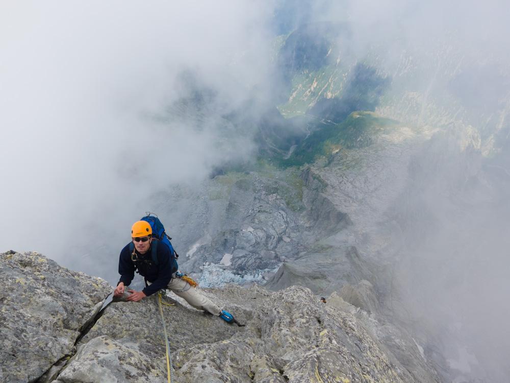 Matthias high on the North Ridge of Piz Badile, 200 kb