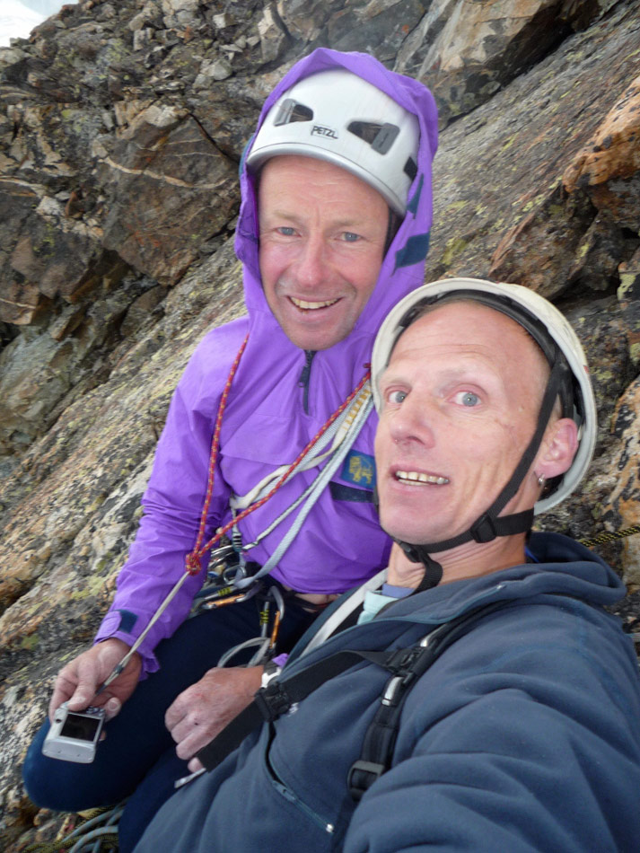 Jerry Gore and Nick Dixon on the summit of Pave Peak, Ecrins, 188 kb