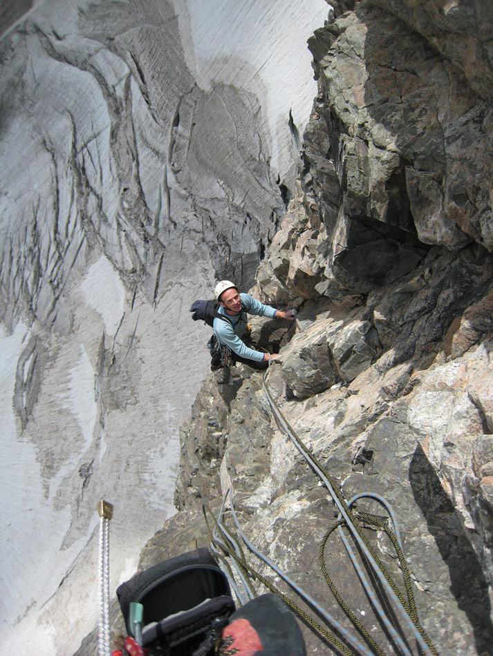 Nick Dixon on Pave dans la Mare, South Face of Pave Peak. , 223 kb