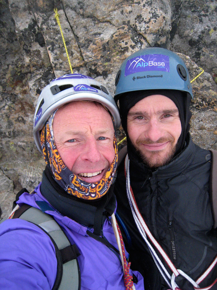 Giles Cornah and Jerry Gore on the summit of the North Face of Olan., 208 kb
