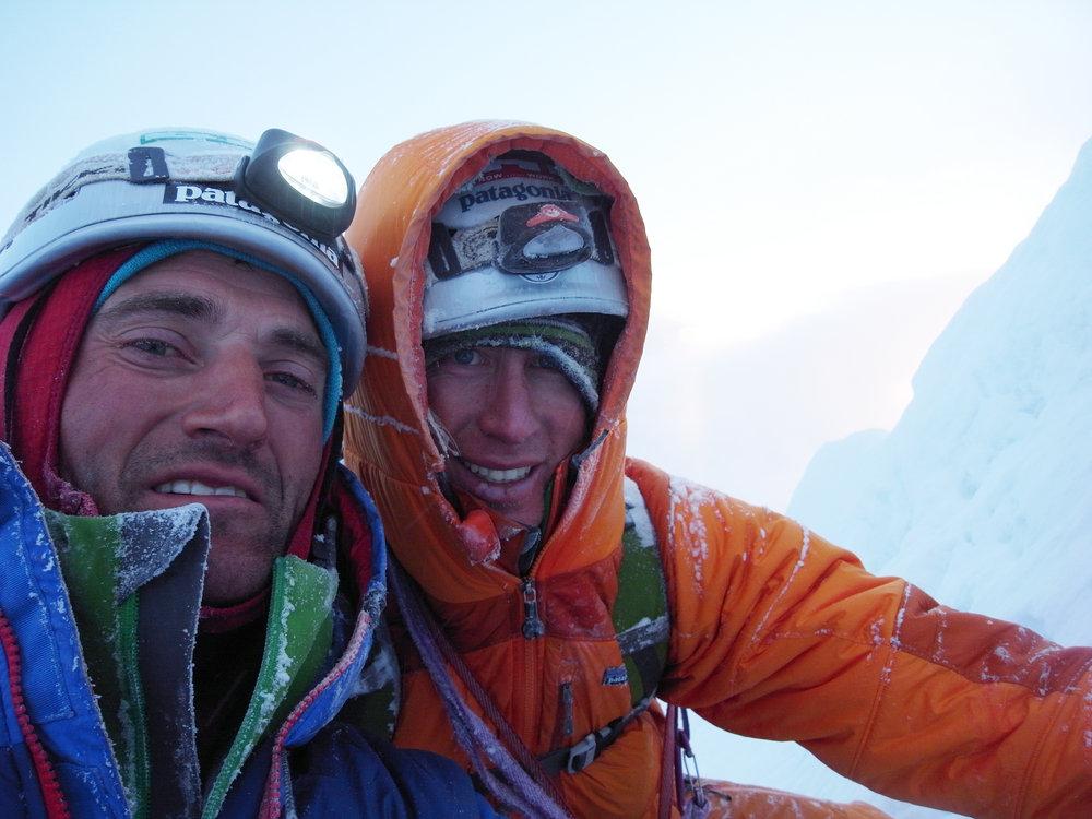 Jon Bracey and Matt Helliker on the summit of the north buttress of Mt Hunter., 158 kb