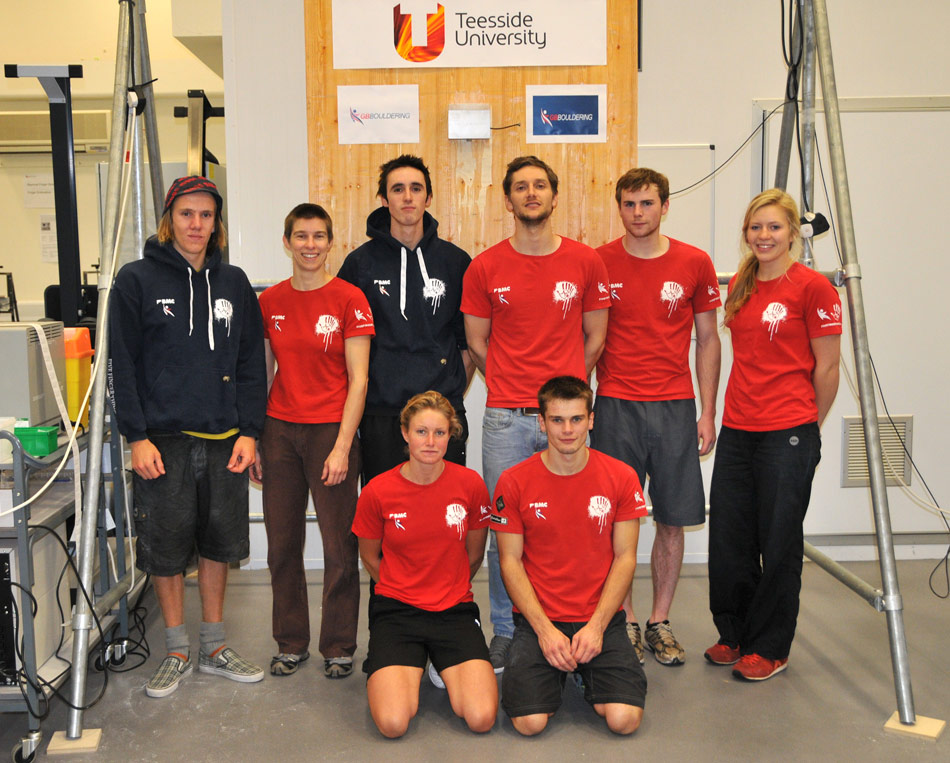 Members of the new GB Bouldering Team at Teeside University, 179 kb
