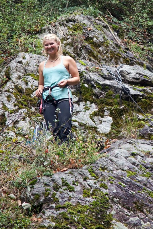 Hazel Findlay, one of the UK's top climbers, is also a keen abseiler. Here about to launch in to action at Le Fayet, France., 172 kb