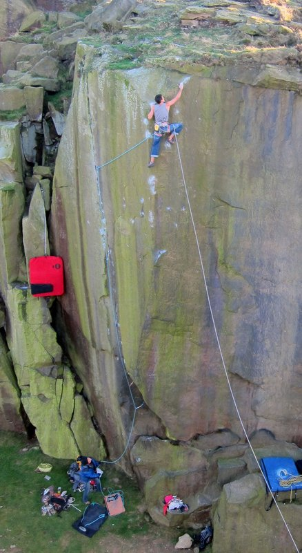 Jordan Buys on Loaded (E8 7a) Ilkley Quarry, 79 kb