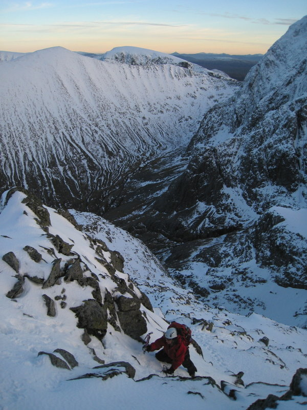 Carn Mor Dearg and the CMD Arete from high on Ledge Route, 130 kb