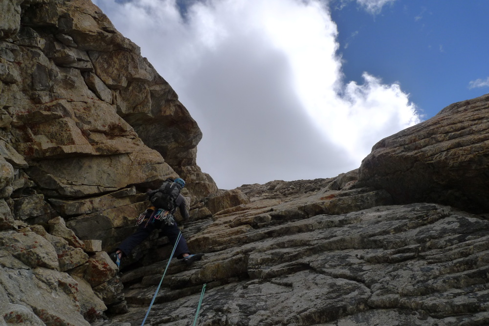 Joe on the 8th pitch of the big wall near base camp in the Raru Valley., 212 kb