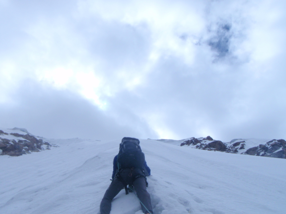 Jonny B on the upper snow/ice of Bhaio aur bheno ki khushi 700m (5985m) in the Raru Valley., 204 kb