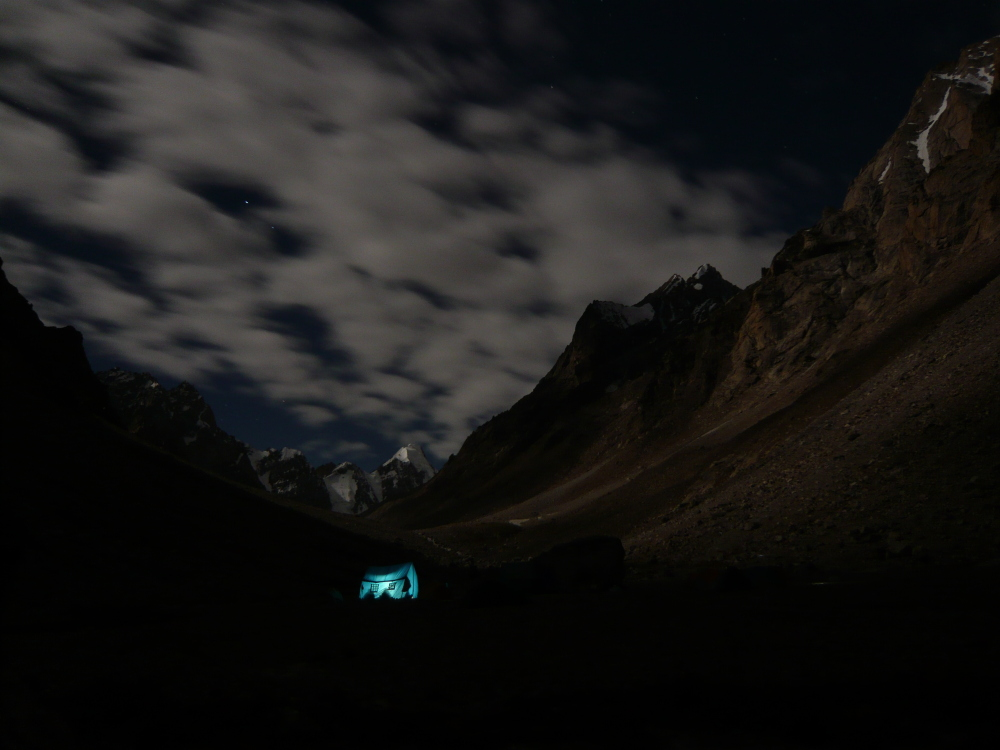 Base camp at night, with the attempted spur visible high on the right., 226 kb