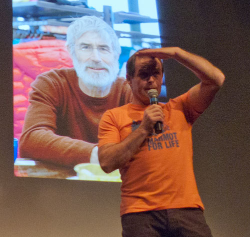 John Horscroft being watched by Rab Carrington at the Marmot Night - Kendal 2010, 52 kb