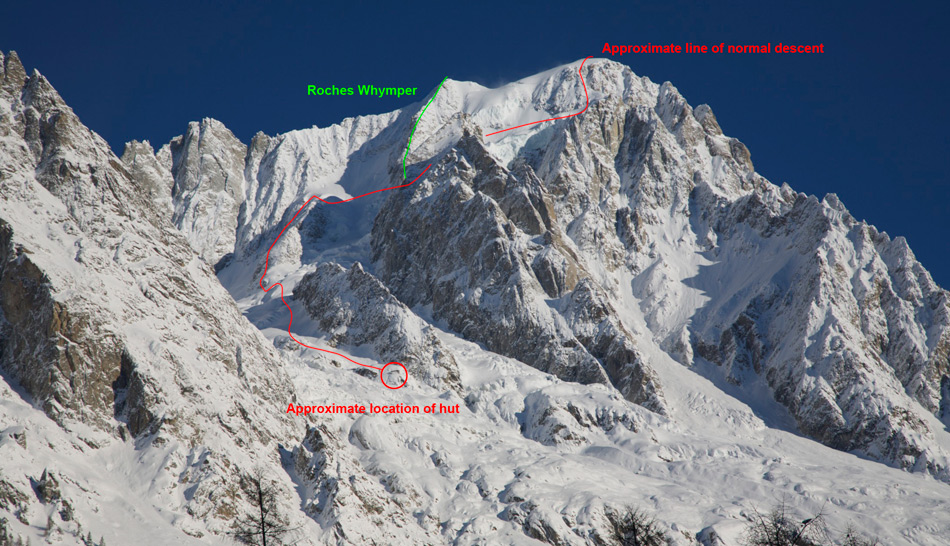 South side of the Grandes Jorrasses - descent routes marked, 228 kb