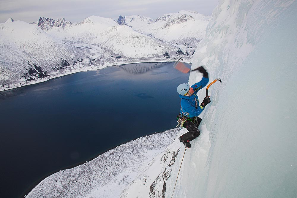 Aljaz Anderle climbing on Finnkona icefall on Senja Island, Norway., 116 kb