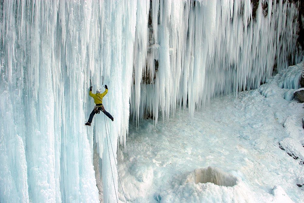 Aljaz Anderle climbing on Pericnik icefall, Julian Alps, Slovenia., 160 kb