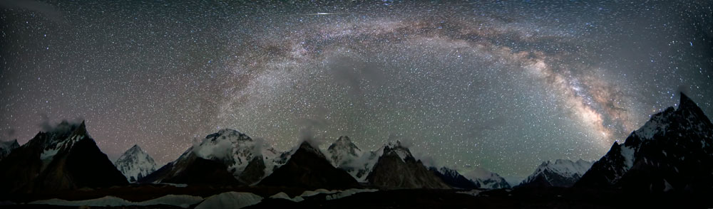 4 x 1 minute exposures with 14mm fixed lens at ISO 2500. Concordia with K2, Broad Peak and Gasherbrum IV, 66 kb