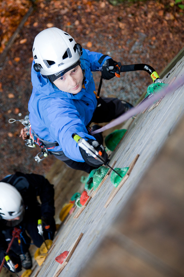 Modern Petzl axes being put to good use on the vertical training tower at PyB, 193 kb