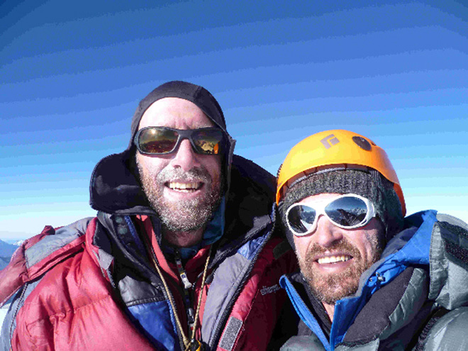 David Gottlieb and Chad Kellogg on the summit of Nepal's Pangbuk Ri (6716m), 129 kb