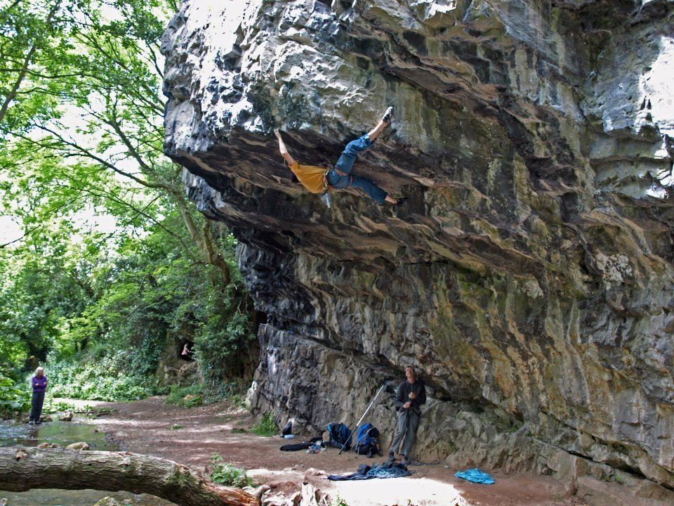 Chris Doyle on The Hole Truth 8b, Dyserth Waterfall, 224 kb