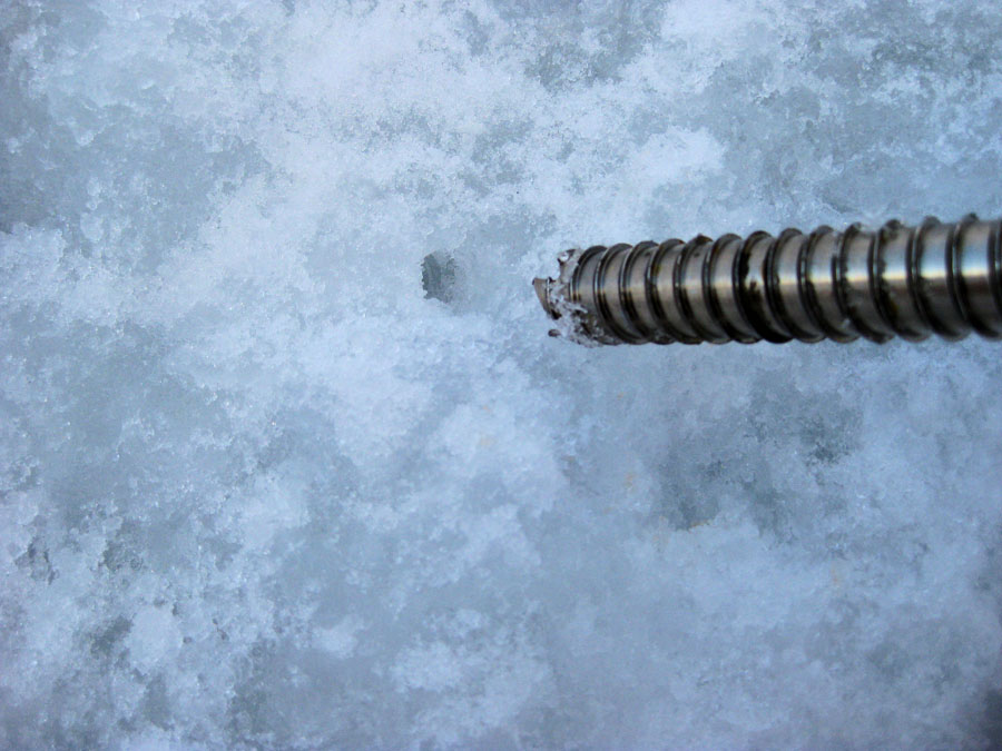 A re-bored screw is an ice screw placed in an existing hole. Faster, easier, but is it as strong?, 123 kb