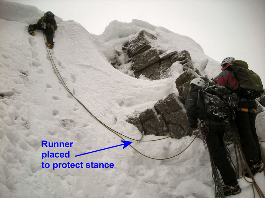 Fig 1 - An early runner to protect the belay, 126 kb