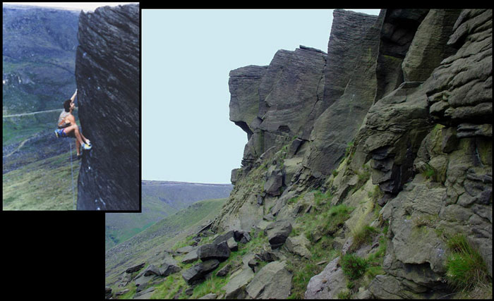 Kevin Thaw leading the beautifully bold arete of Appointment with Fear (E7) at Wimberry, 89 kb