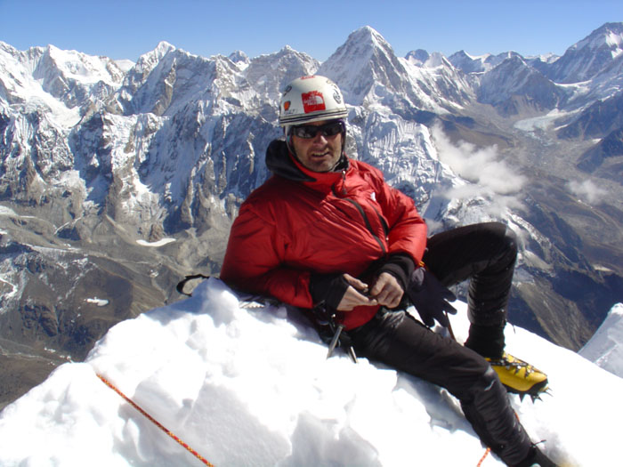 Kevin Thaw on the summit of Cholatse, 6440m after climbing the Southwest Ridge in 2005, 104 kb