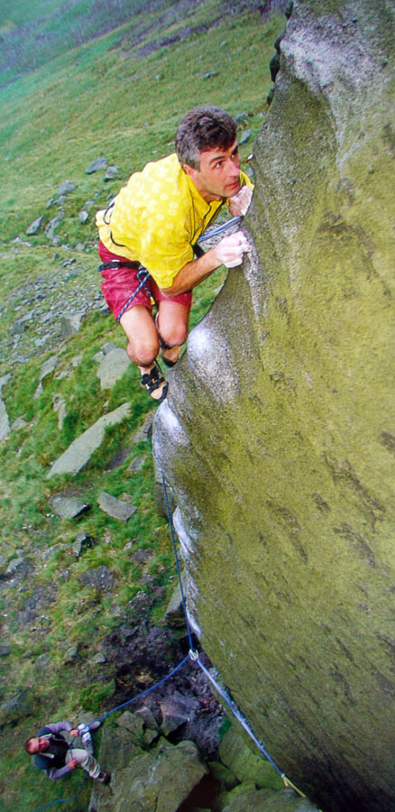Kevin Thaw on the first ascent of the striking arete of 'Order of the Phoenix' (E8) at Wimberry, 149 kb