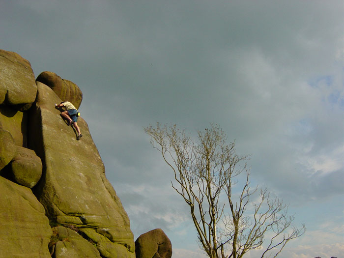 Kevin Thaw, seconds before taking a bone-breaking groundfall attempting to onsight Obsession Fatale (E8), Roaches, 79 kb