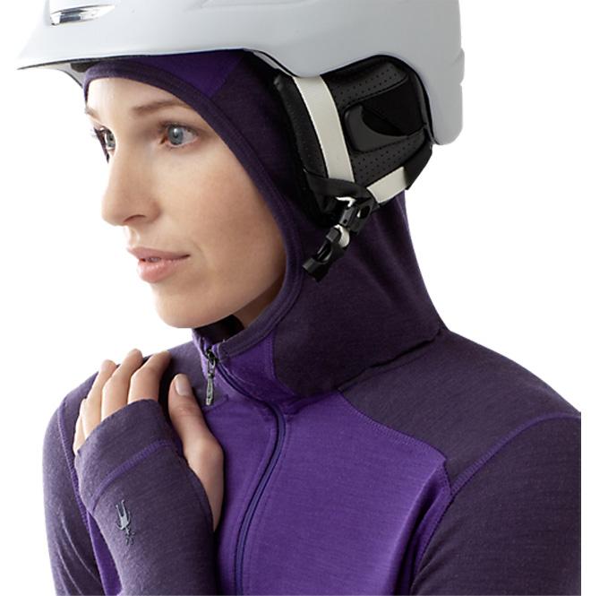 Women's SmartWool Midweight Hoody, helmet with hood detail, 95 kb