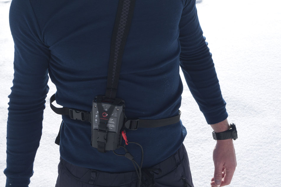 Charlie Boscoe wearing a Mammut Transceiver, 80 kb