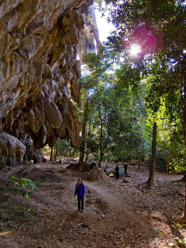 Caroline Ciavaldini checking out a crag in Thailand, 218 kb