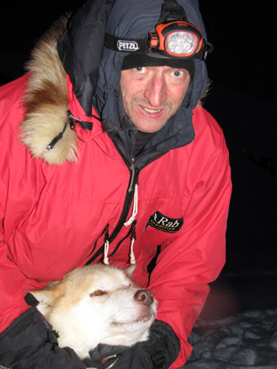 Harnessing Cracker in the black of the Arctic winter by the light of my Petzl Ultra Accu 2, 181 kb
