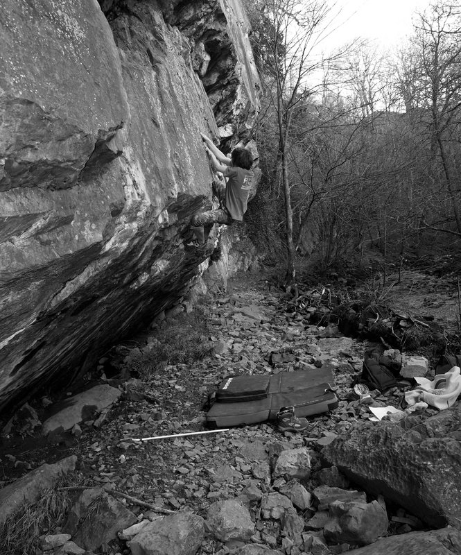 James Squire pulling into the finish on 'Boy Racer' at Dinas Rock (main crag). , 185 kb