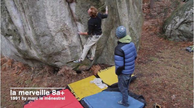 Jacky Godoffe on La Merveille, 8A+, Fontainebleau, 56 kb