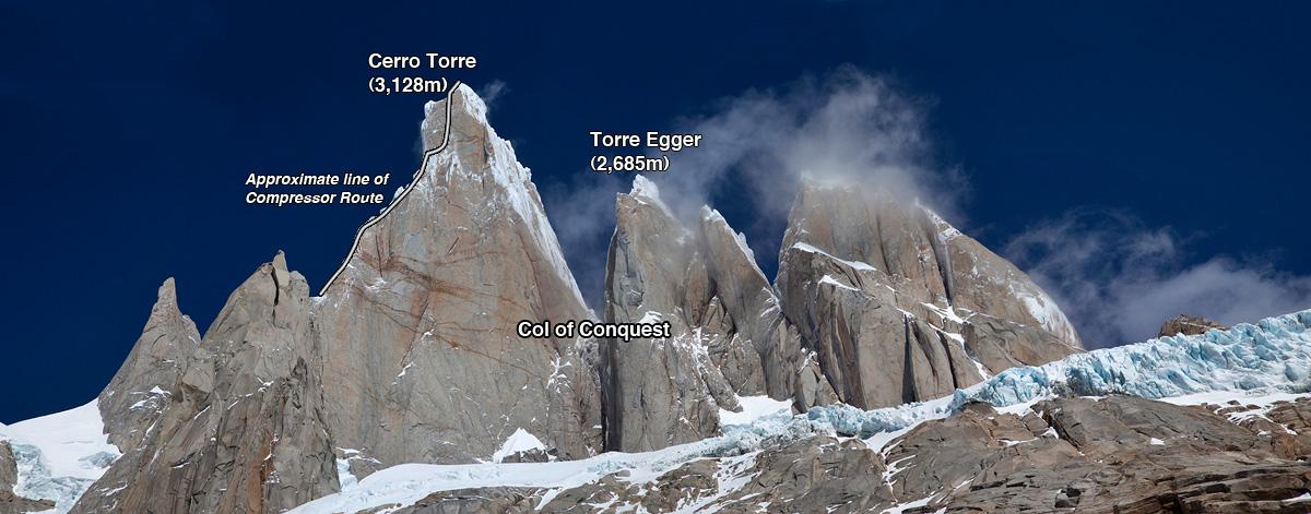 Cerro Torre and Torre Egger, Patagonia, 208 kb