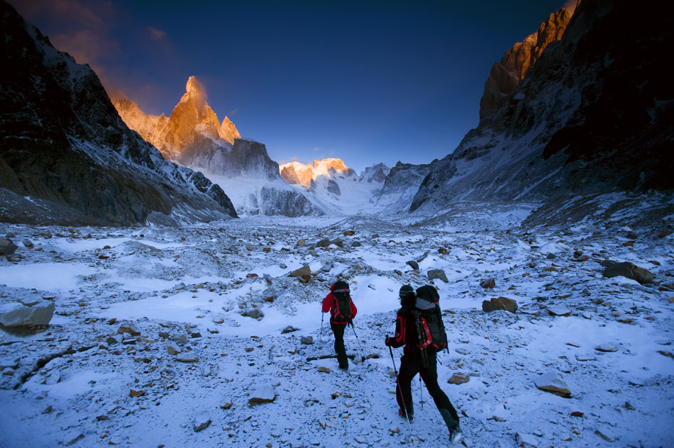 David Lama and Daniel Steuerer hiking the Cerro Torre Glacier on the approach to Cerro Torre in the pre-dawn light, 182 kb