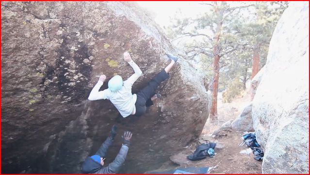 Dave Graham making the FA of memory is Parallax, 8B+, Elkland, CO, 59 kb