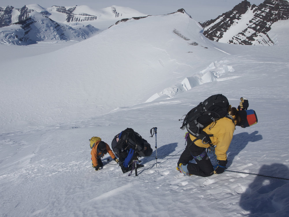 'Summit slope has a big drop down the west face, but is the only difficulty of the climb' © Phil Pool - BMG