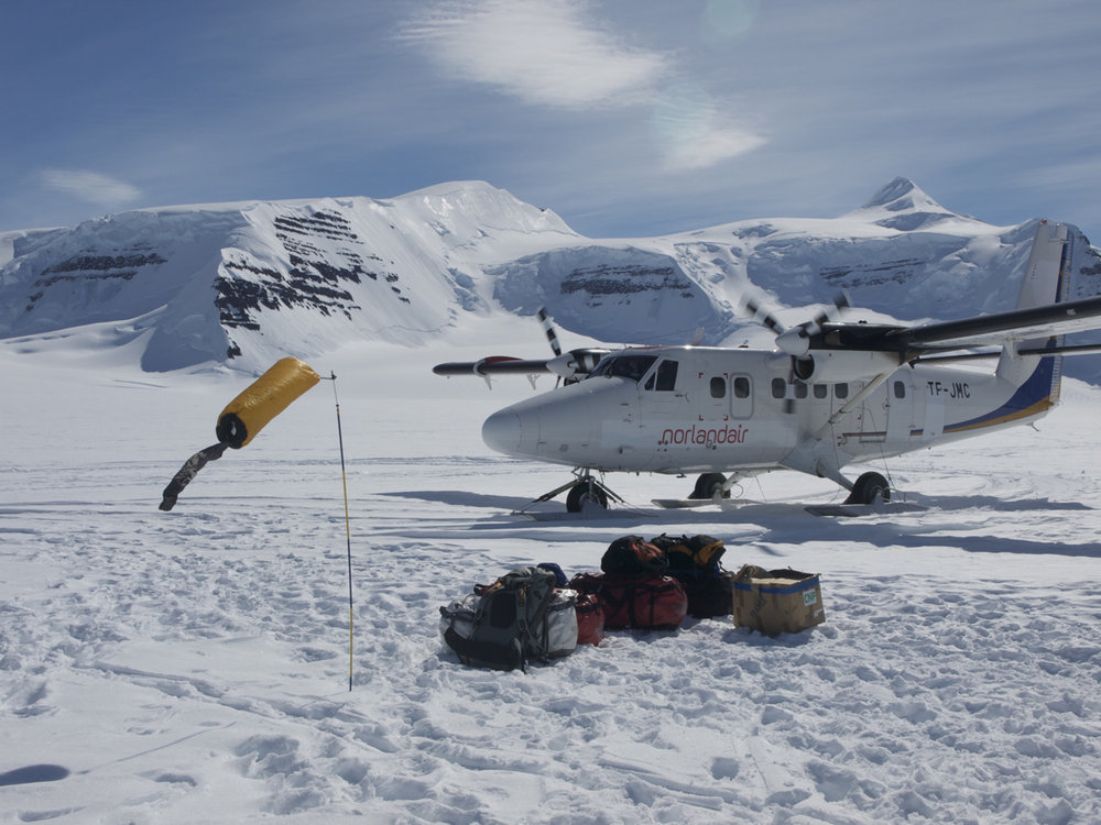 'Arriving at base camp by Twin Otter ski plane', 146 kb