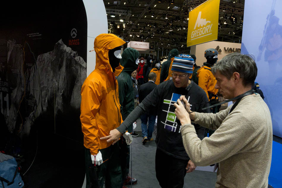 Alan James filming Conrad Anker on The North Face stand - ISPO 2012, 107 kb