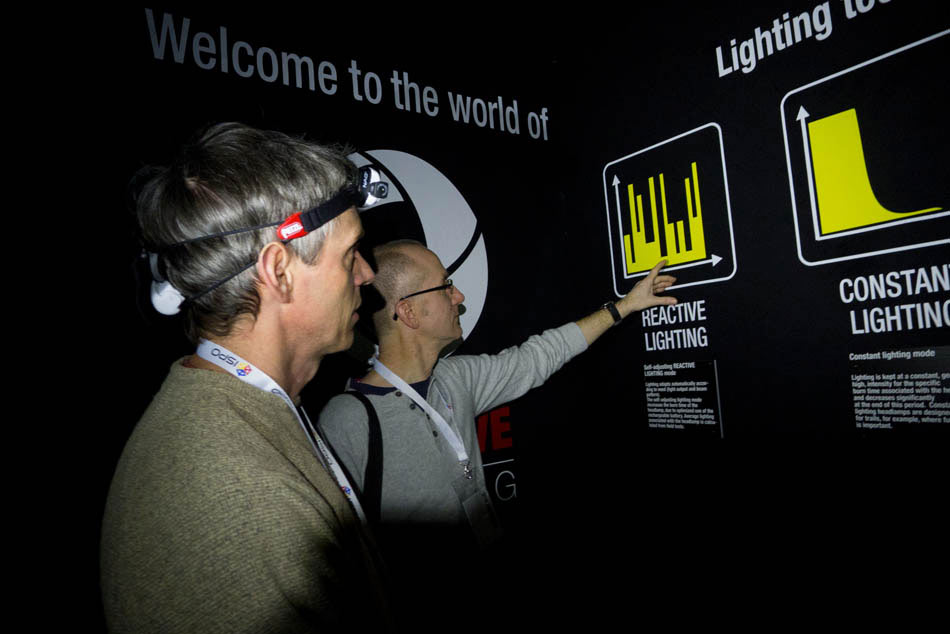 Clive Allen and Alan James in the Petzl Reactive Lighting Tunnel - ISPO 2012, 68 kb