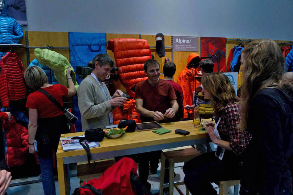 Ueli Steck chatting with Alan James and Sarah Stirling on the Mountain Hardwear Stand - ISPO 2012, 107 kb